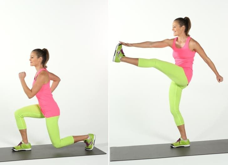 Pin for Later: 43 Fat-Blasting Moves For Those Who Hate to Run Reverse Lunge and Kick