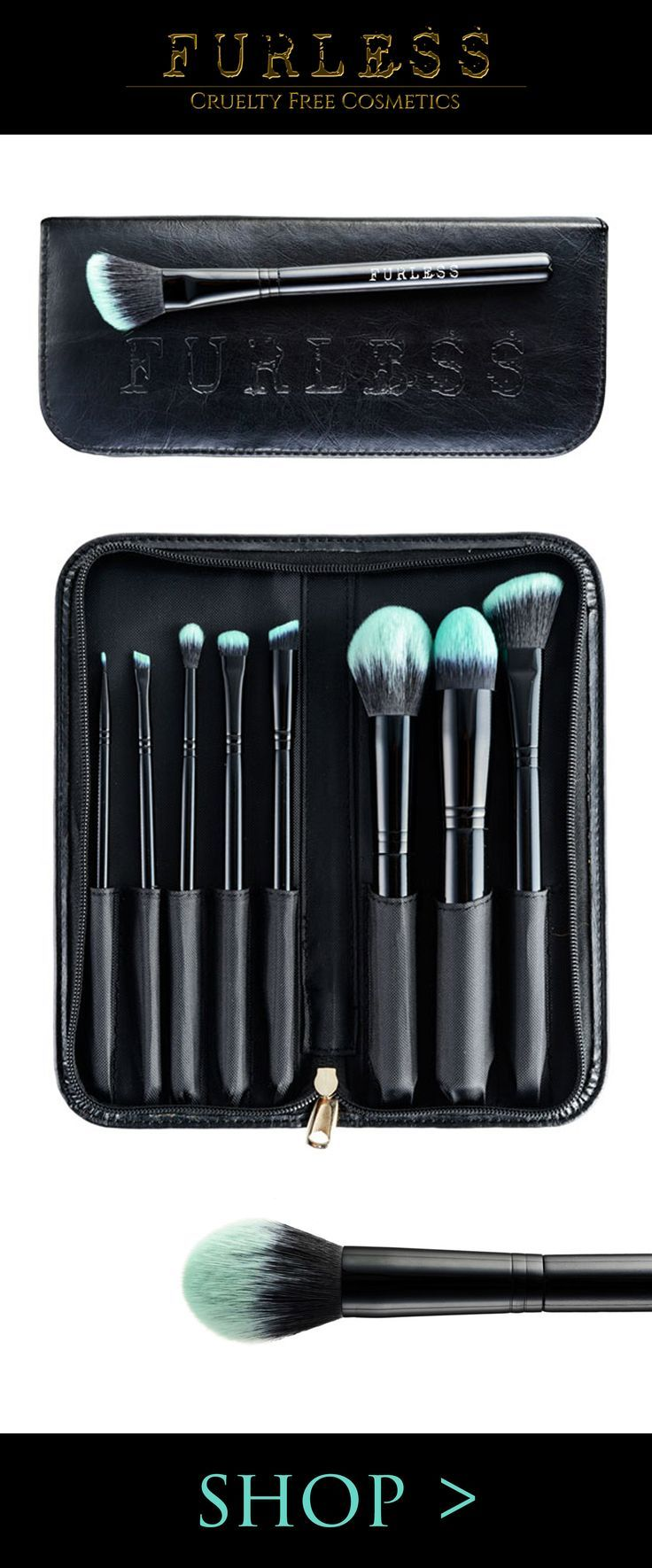 This pro black travel brush set is the standout kit for travelling. Shop: http://furlesscosmetics.com/black-beauty-makeup-brush-set