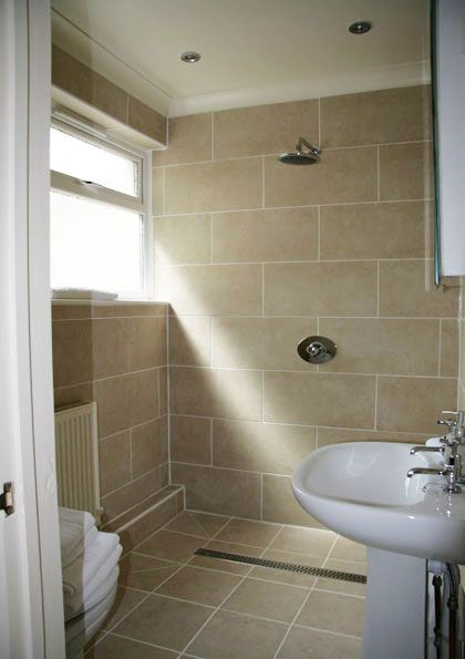 Shower Wet room - I like this one  shower at end but not enclosed