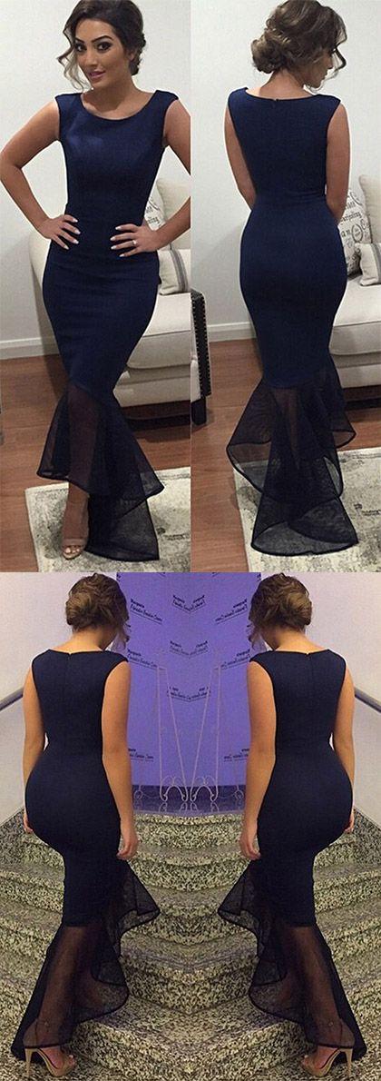 Blue Prom Dresses Mermaid, Sexy Party Dresses Asymmetrical, Organza Silk-like Satin Formal Evening Gowns Ruffles Summer