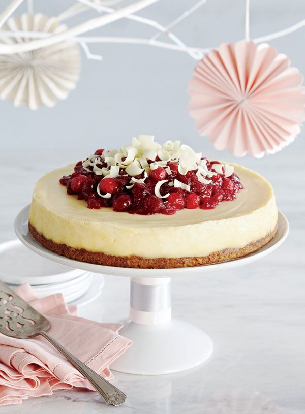 Celebrate Canada Day with this gorgeous red-and-white cranberry white chocolate cheesecake. The white chocolate shavings make for a beautiful garnish. Photo by Jeff Coulson.