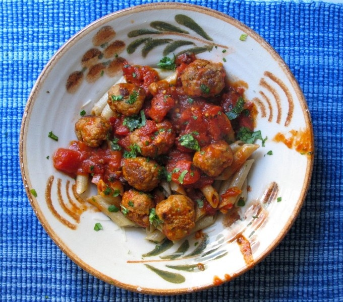 Lynne Rossetto Kasper's Meatballs with Tomato Sauce and Penne