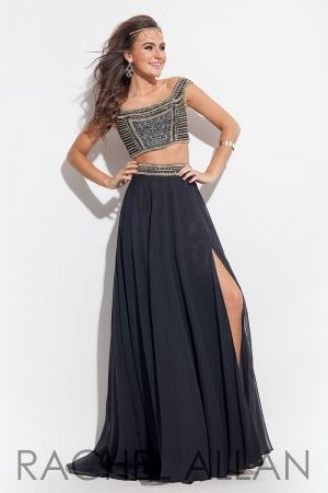 Two-piece Grecian off-the-shoulder gown with beaded top and chiffon skirt