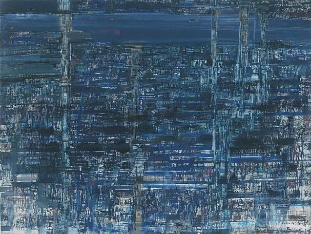 "Maria Helena Vieira da Silva, ""Estuaire bleu"" (1974). Tempera on paper (56x77cm)"