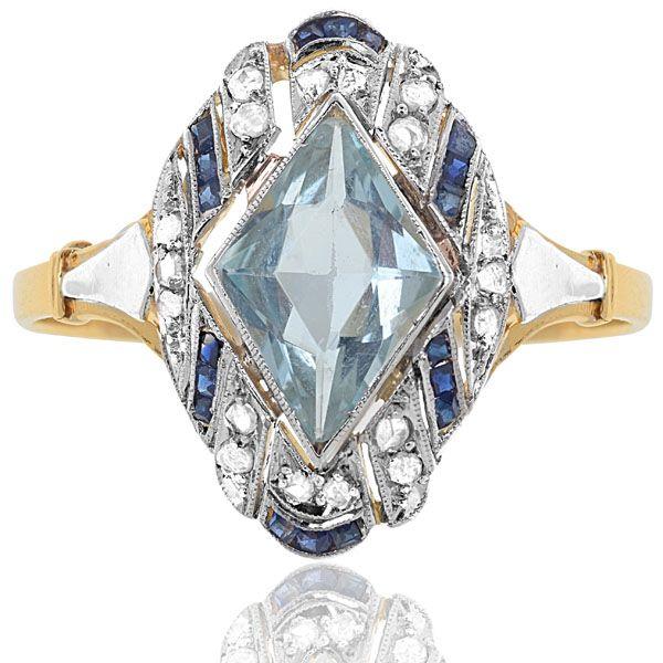 Blue Topaz, Sapphire & Diamond Art Deco Ring