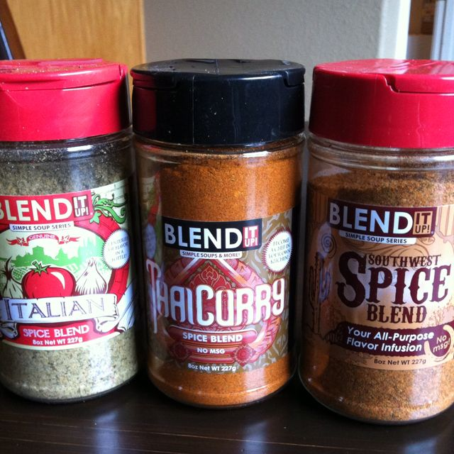Spices for vitamix soups!  From the demo guy at Costco. Vitamix recipes right on the bottles for pizza soup, Thai ginger soup and tortilla soup. Can't wait until dinner!