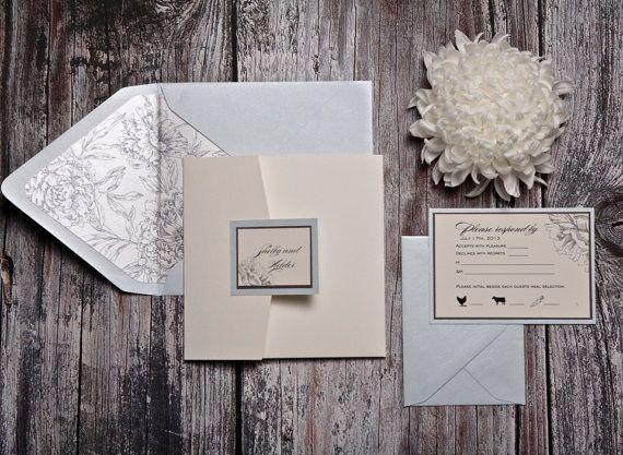 Shelby-Einladung (Creme pocketfold Einladung zur Hochzeit mit blass grünen und grauen Akzenten) - Einzahlung auf Etsy, 93,72€