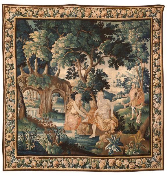 Le bain de Diane. Importante #tapisserie des ateliers de la Marche (région d' #Aubusson). XVIIe siècle. 275 x 290 cm. Vente aux #encheres du 12/07/14par Cannes Enchères