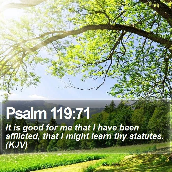 Psalm 119:71 It is good for me that I have been afflicted, that I might learn thy statutes. (KJV)  #Humble #Preaching #Salvation #Mediator #Omega #JesusSaves #WordOfLife http://www.bible-sms.com/