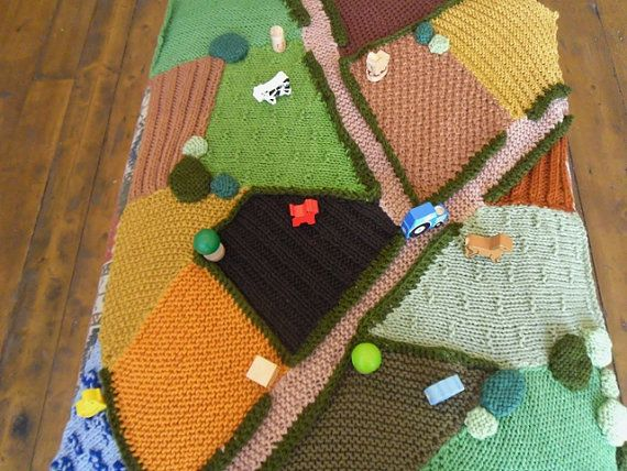 Hand Knitted Farm Rug wooden toys included. by KnittingforEthel, £130.00