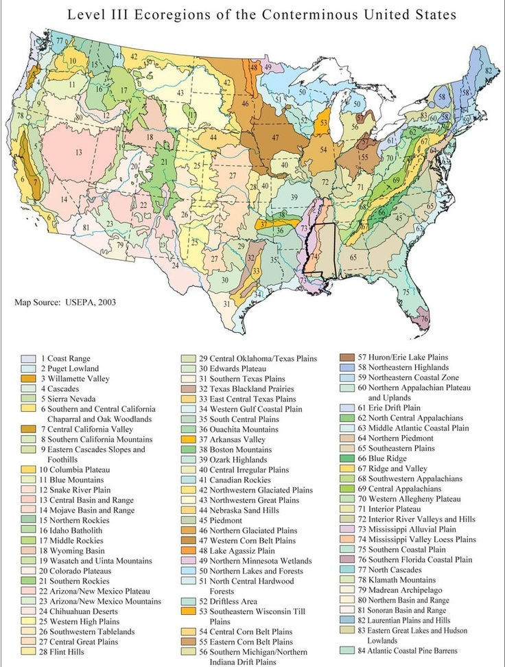 the 84 distinct ecoregions of the coterminous united states us epa 2003