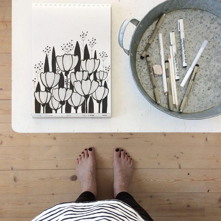 Floral drawing. Botanical. Sketch. Illustration. Ink. By Johanna Sandberg.