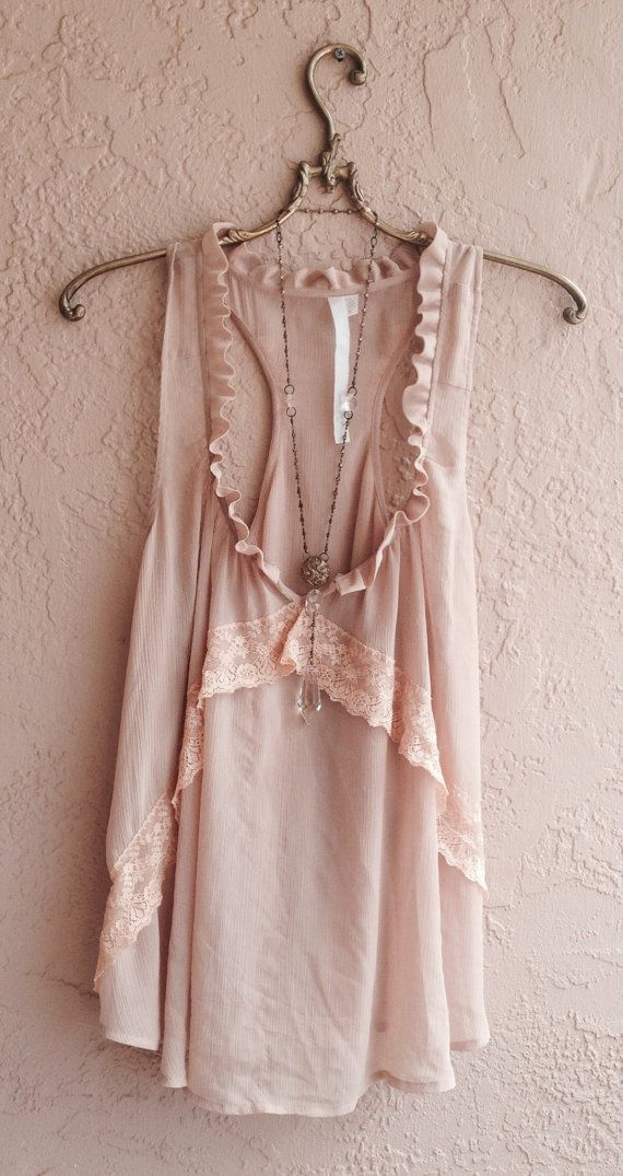 Nude blush pink racer back tunic with lace details