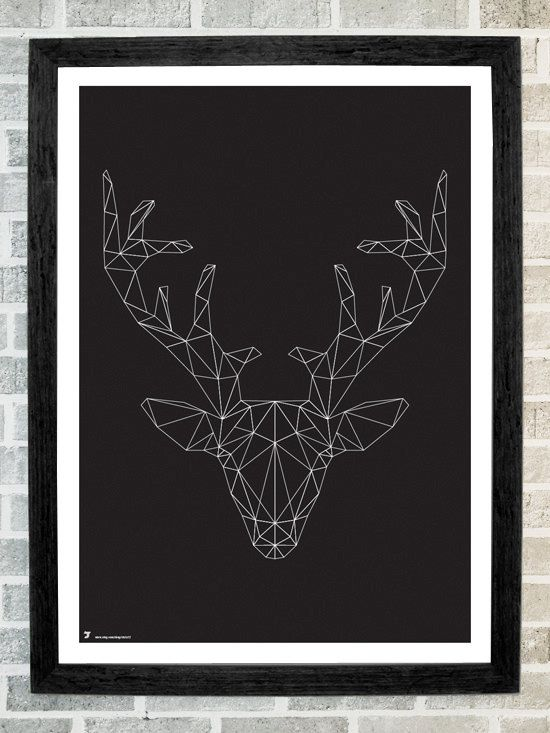 Reindeer head triangles print 11X16 by Stola12 on Etsy, $20.00