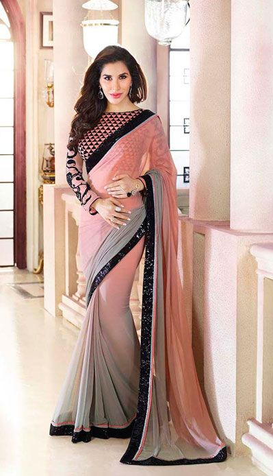 USD 85.22 Sophie Choudry Grey and Peach Lace Work Party Wear Saree 40211