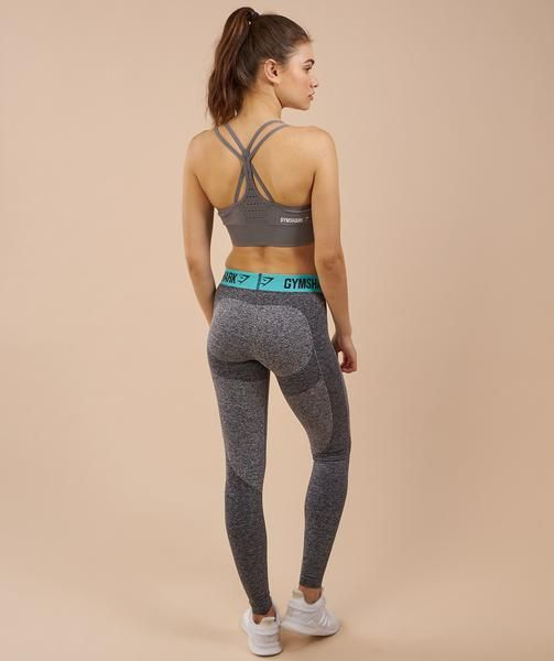 Gymshark Flex Leggings - Charcoal Marl/Pale Turquoise 1