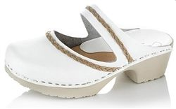Calou Gaby White Clogs with beautiful braided detail, available at Northlight Homestore