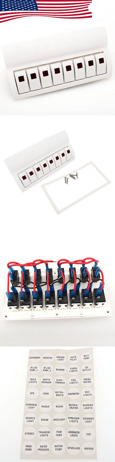 boat parts: New Red Led White 8 Gang Rocker Switch Panel For Caravan Marine/Boat Waterproof BUY IT NOW ONLY: $37.99