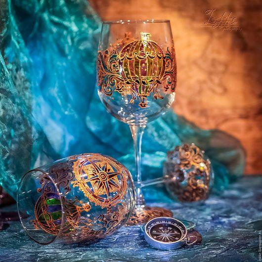 Бокалы, стаканы ручной работы. Ярмарка Мастеров - ручная работа. Купить Винные бокалы -Волшебное Путешествие. Handmade. Бирюзовый, орнамент