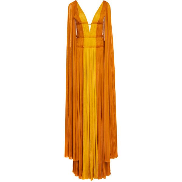 Draped Sleeve Gown | Moda Operandi ($5,990) ❤ liked on Polyvore featuring dresses, gowns, orange gown, v neck evening dress, orange evening dresses, v neck gown and v neck dress