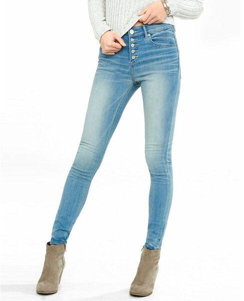 Express Womens Express Womens Light Blue High Waisted Button Fly Jean Leggings Blue 18 Short