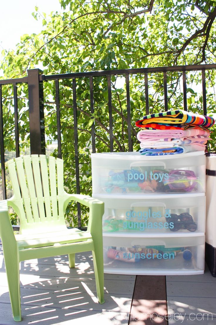 I'm sharing a simple and affordable solution to organize pool toys, towels, and all the other outdoor clutter. It costs less than $20 and save you lots of frustration!