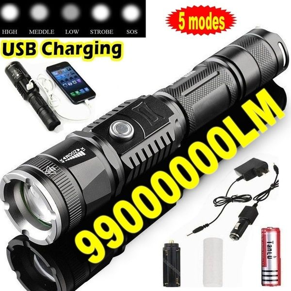 Led 99000000lm Torch Phone Usb Charging Flashlight Linternas Lampe Torch Charger Rechargeable Battery Wish Usb Charging Usb Flashlight