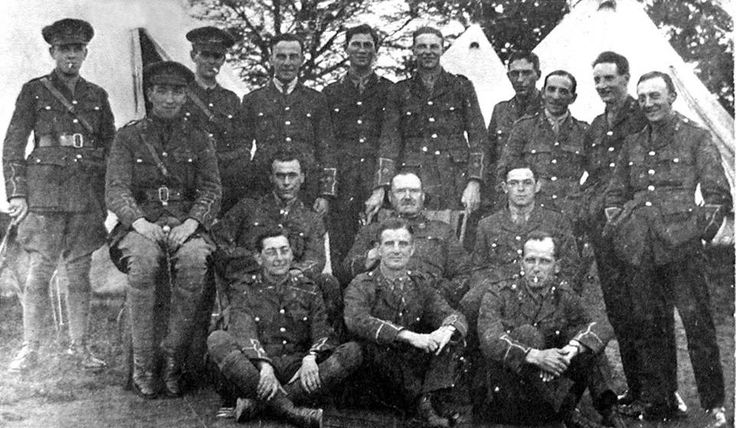 A group of RWF Officers at Henlle Park Camp Gobowen Shropshire September 1917. Robert Graves can be seen second on the left.