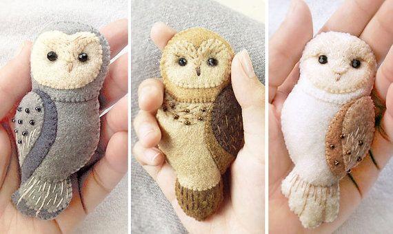 10% DISCOUNT on Set of Three Owl Felt Brooches, Special Price on Handmade Woodland Animal Felt Jewelry
