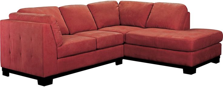 Oakdale 2-Piece Microsuede Sectional w/Right-Facing Chaise - Red   The Brick