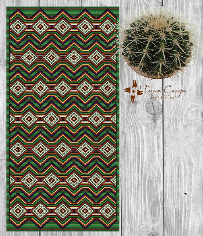 ✄ PATRON PUNTO CRUZ  Alfombra Etnica XI  Para bordar con Lanas Gruesas.  171 puntos de ancho  381 puntos de largo.  Medidas aprox. si se borda en esterilla gruesa y lanas gruesas:   71,25 cm de ancho  1,58 Mt de largo  Utiliza 8 colores .