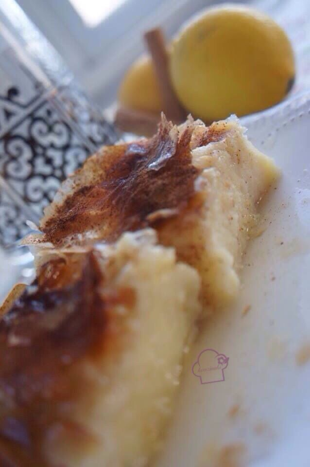 A delicious milk pie (galaktoboureko - γαλακτομπούρεκο). This is the traditional semolina-based Greek recipe with lemon zest and lots of cinnamon on the top. Great texture and even greater taste...Easily my desert island sweet.