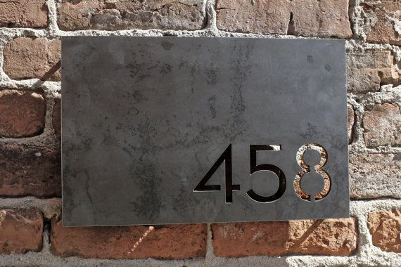 Modern House Numbers / Address Plaque. Made from 1/4 thick steel plate. Numbers can be justified to any corner of the rectangle. Comes with