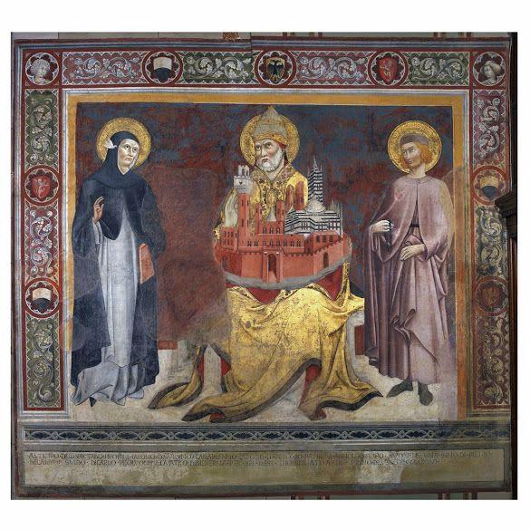 Siena in a nutshell: San Pietro Alessandrino holding the city of Siena in Sano di Pietro's fresco at Palazzo Pubblico
