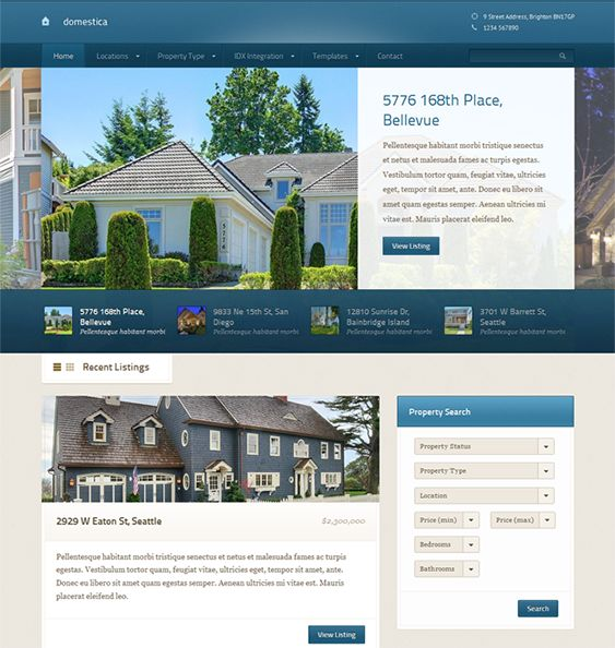 This real estate WordPress theme has multiple layouts, Google Maps integration, a property listing template, a real estate agent template, a featured listing homepage slider, IDX/MLS integration, and more.