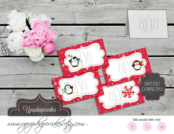 Buffet Tent Cards--Holiday, Christmas, Penguins--Place Cards--Blank DIY--INSTANT DOWNLOAD