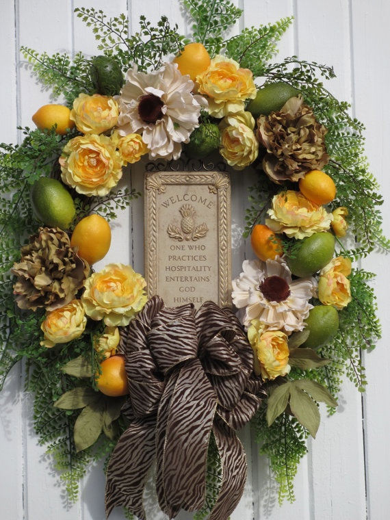 Spring Wreath Front Door Wreath Summer Wreath By Hollyhillwreaths, $99.99