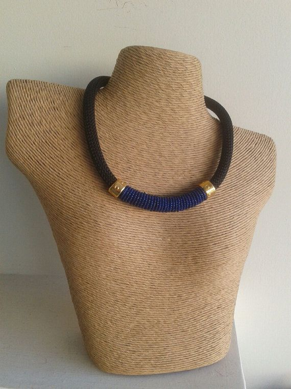 seedbeads necklace  electric blue necklace  black by betsyarts, €14.00