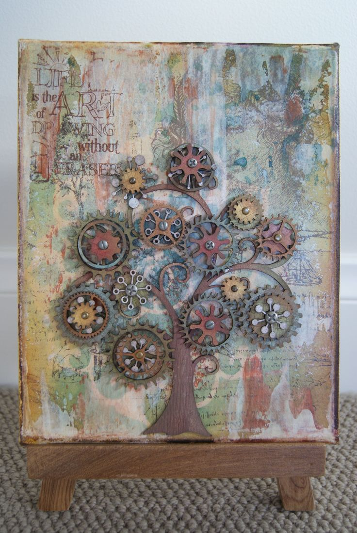 How to scrapbook canvas - Cog Tree Canvas Scrapbook Com Beautifully Done