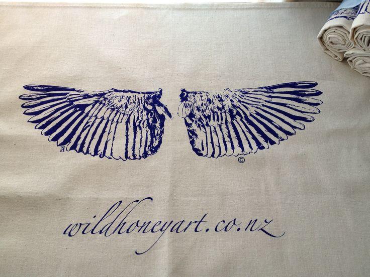 Unbleached cotton Tea Towel produced by Wild Honey Art.  www.wildhoneyart.co.nz