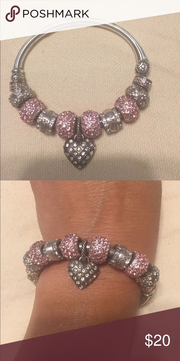 Brighton bracelet Pink and silver bangle bracelet.  Beads say love and sweetheart Brighton Jewelry Bracelets