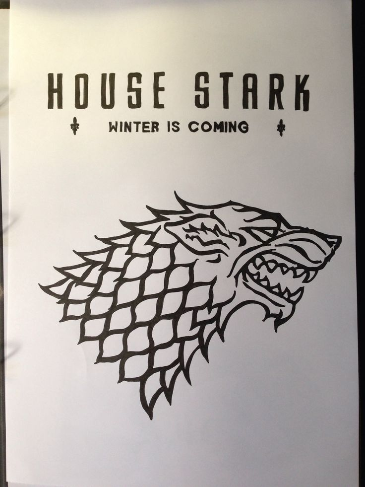 Game of Thrones, Stark banner, Black pigment ink, A3