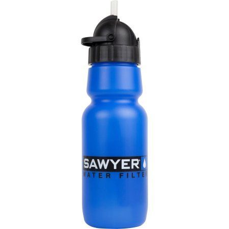 Sawyer Inline Water Filter with 34-Ounce Bottle, Blue