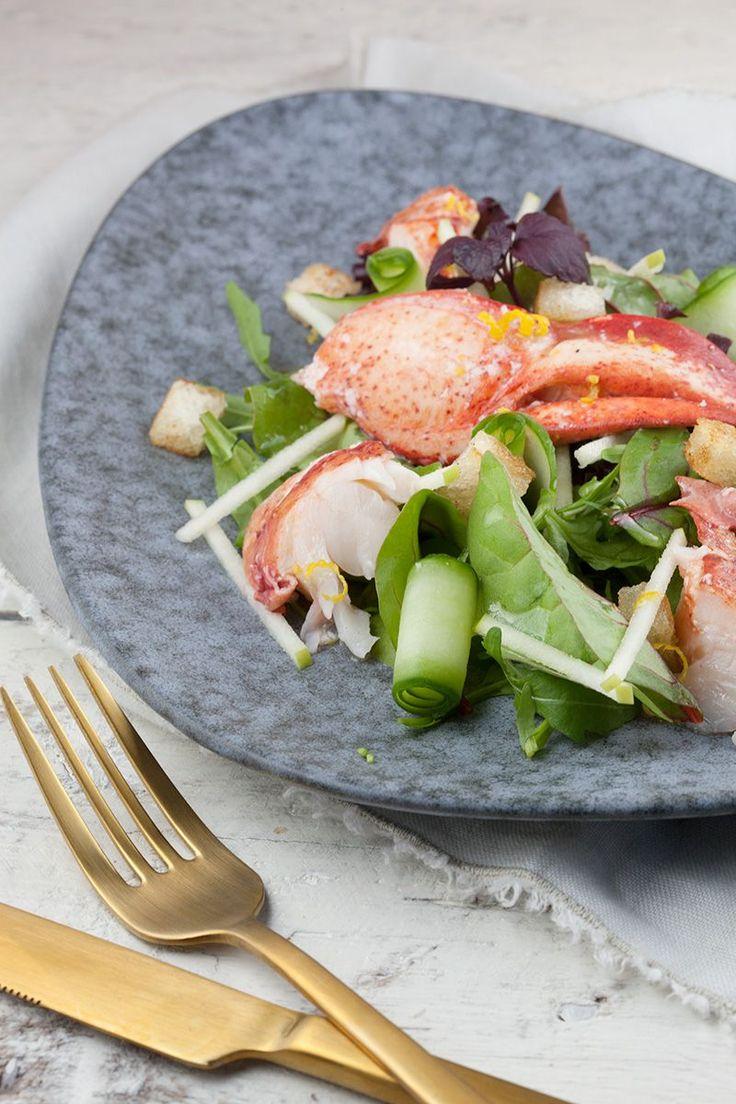 Salade met kreeft en groene appel