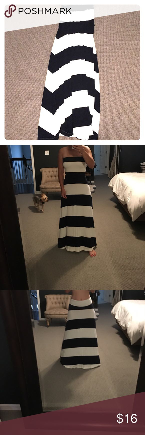 Navy and white striped convertible dress Beautiful nautical navy and white Gap dress. You can wear it as strapless or as a skirt. Size S petite. no stains or damage and only worn a couple times. As a mom of two boys, I no longer do strapless tops🙁 GAP Dresses
