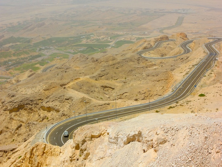 The road from Al- Ain to the peak of the Mountain Jebel Hafeet in The United Arabic Emirates. Amazing view!