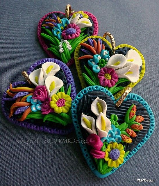 Multicolored Flowers Heart Shaped Pendants #claycollage