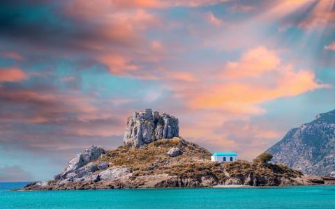 View on small island of Kastri near Kefalos town, Greece
