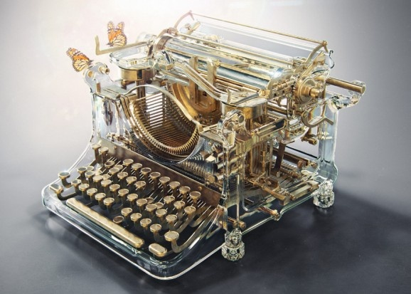 glass typewriter