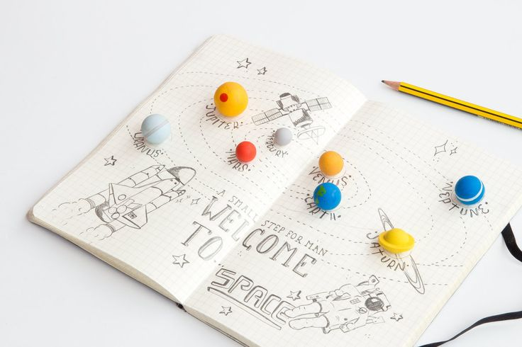 Solar System Planet Erasers - from Vunk #planets #erasers #stationary #art #solarsystem